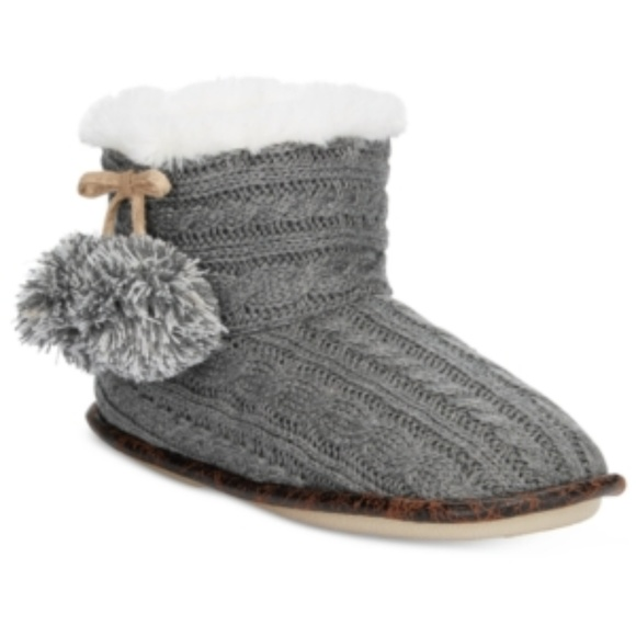 Pj Couture Shoes Cable Knit Slipper Booties Gray Poshmark
